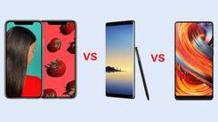 小米MIX2、三星Note 8、iPhone X对比