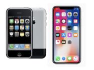 iPhone X与初代iPhone显示区域对比