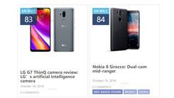 LG G7 ThinQ与Nokia 8 Sirocco未进DxO第一梯队