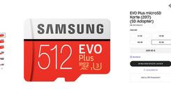 三星德国官网上架512GB拓展卡 售价高昂近2300元