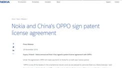 OPPO与Nokia签订专利授权协议 或为进军欧洲市场