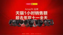 华米科技双11再突破:Amazfit 一小时销量销额超去年全天