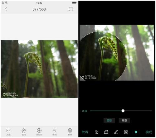图3:OPPO手机编辑图片-虚化
