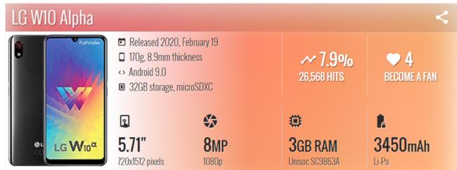 紫光展锐SC9863A芯片亮相 LG W10 Alpha发布