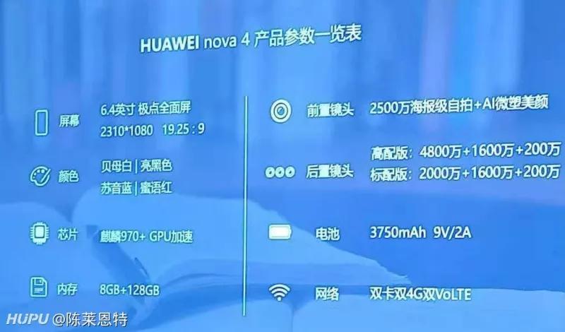 Nova 4或不止一个版本 仅高配版带4800W像素主摄